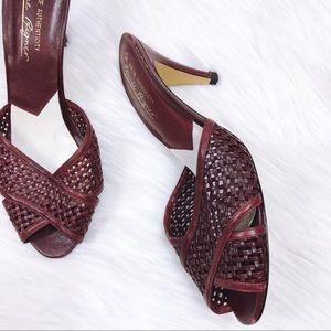Vtg 70s Woven Leather Sandal Slide Heels 9